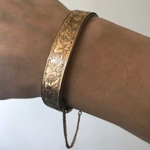 Jewelry - 1872 Victorian bangle vintage grape leaf gold fill